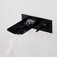Fashion Brushed Waterfall Wall Mounted Bathroom Basin Faucet - Black