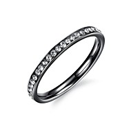 Fashion Crystal Women's Black Titanium Steel Band Rings(1 Pc)