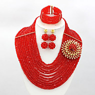 Nigerian African Bead Necklace Set New African Crystal Beads Necklace Bracelet Earrings Set