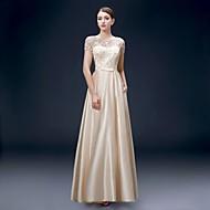 Formal Evening Dress - Champagne Plus Sizes A-line Bateau Floor-length Satin