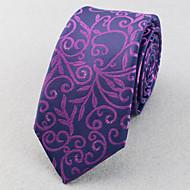 Gravatas ( Roxa/Vermelho/Prateada , Poliéster ) Listrado/Padrão Diagonal/Estampado/Pontos/Forma Livre