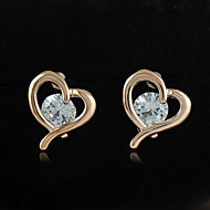 New Heart Stud Women's Earring With Cubic Zirconia Gold Plated and Silver Plated