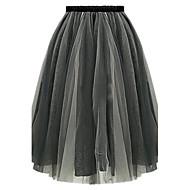 Women's Beach Casual Cute Plus Sizes Inelastic Thin Knee-length Skirts (Organza)
