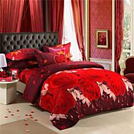Mingjie großen roten Blumen 3D-Bettwäschesätze Queen-Size-
