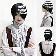 Angelaicos Men Soul Eater DEATH THE KID Short White Black Layered Highlights Halloween Party Costume Cosplay Wigs