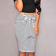 Women's Fashion Stripes Self-tie Midi Skirt