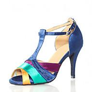 Women's Dance Shoes Latin Satin Stiletto Heel Blue
