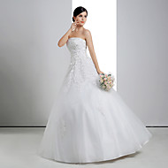 Ball Gown Wedding Dress - White Floor-length Strapless Lace/Organza/Charmeuse