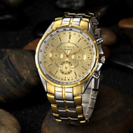 Men's Gold Round Dial Alloy Band Quartz Analog Wrist Watch Cool Watch Unique Watch Fashion Watch