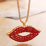 Lucky Star Women's Fashion Red Lips Chain Necklace