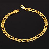 u7® hochwertigen 18k Gold gefüllt figaro Kettenarmband für Männer oder Frauen 4mm 19.5cm