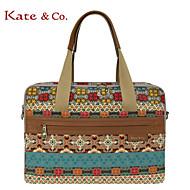 Damen - Laptop Tasche - Kuhfell / Leinwand Mehrfarbig