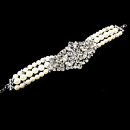 Vintage Luxurious Round Diamond Pearl Wedding Silver Bracelet For Women Lades Bridal Birthday GIft