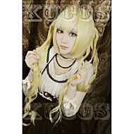 Angelaicos Womens KARNEVAL TSUKUMO Long Wavy Blonde Girls Curly 2 Ponytails Halloween Party Costume Cosplay Wigs