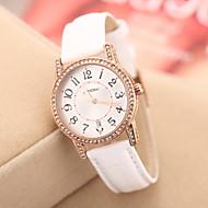 SINOBI Women's Golden Rhinestone Leather Band Quartz Analog Wrist Watch (Assorted Colors)