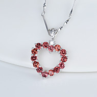 Women's Sterling Silver Necklace With Garnet SG0022P