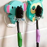 木製のかわいい漫画の動物の歯ブラシホルダーの吸引カップのバスルームには、フックを設定します