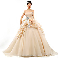 Ball Gown Court Train Wedding Dress -Strapless Organza