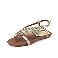 Sandály - Kůže - Pohodlné / S páskem - Dámská obuv - Stříbrná / Zlatá - Kancelář / Šaty - Plochá podrážka