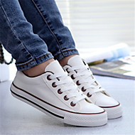 Women's Spring / Summer / Fall Round Toe Canvas Casual Flat Heel Lace-up Black / Brown