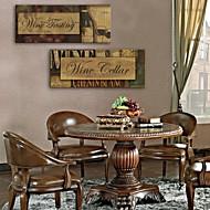 E-home® 2 tuval sanat kırmızı şarap ve kelimeler dekoratif boyama seti gergin