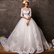 Ball Gown Court Train Wedding Dress -Off-the-shoulder Tulle