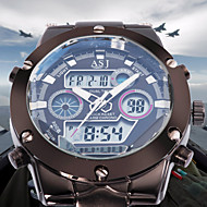 Hommes Montre Bracelet Quartz Quartz Japonais LCD Calendrier Chronographe Etanche Double Fuseaux Horaires penggera Acier Inoxydable Bande