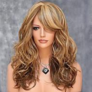 européen et américain couleur de fil à haute température de mélange de cheveux synthétiques et longue perruque de cheveux