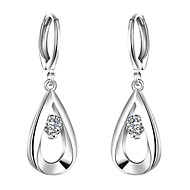 Earring,Jewelry,lureme®Fashion Style 925 Sterling Sliver With Zircon Teardrop Shaped Dangle Earrings