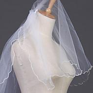 Wedding Veil Two-tier Elbow Veils Pencil Edge 23.62 in (60cm) Tulle White / Ivory