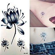 타투 스티커 - Non Toxic/허리 아래/Waterproof - 꽃 시리즈 - 아동/여성/남성/어른/Teen - 블랙/블루 - 종이 - 1 - 6*10.5cm (2.36*4.13in) - Lotus