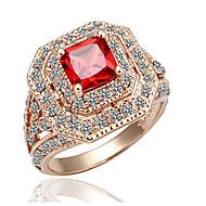 Gyűrűk,Arannyal bevont Kocka cirkónia / utánzás Ruby Születési kövek Ékszerek Vallomás gyűrűk