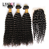 Hair Vetülék, zárral Mongol haj Hullámos haj 3 darab haj sző