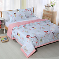Summer Quilt 100% Cotton Light Pink Bedding for Girls Reactive Printing