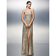 Prom / Formal Evening Dress Sheath/Column Strapless Floor-length Sequined