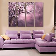 e-home® lona esticada arte cheia de flores conjunto pintura decorativa de 4