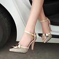 Calçados Femininos - Saltos - Saltos / Bico Fechado - Salto Agulha - Preto / Prateado / Dourado - Courino - Social