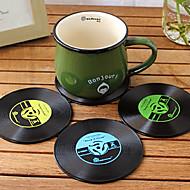 ヴィンテージビニールコースターグルーヴィーCD・レコード・テーブルバーのドリンクカップマット1個(ramdon色)