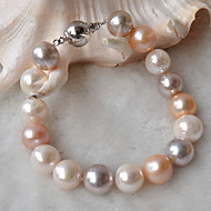 Fresh Water Pearl Bracelets 10.5-11.5mm, S925 Sterling Silver Clasp,Mixed color , Nearly Round