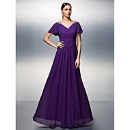 Dress - Plus Size / Petite Sheath/Column V-neck Floor-length Chiffon