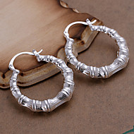 Fashion Round Shape Silver Plated Foreign Trade Earring Studs(Silver)(1Pair)