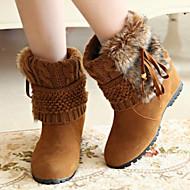 נעלי נשים - מגפיים - דמוי סוויד - מעוגל / סגור / מגפי אופנה - שחור / חום / צהוב - קז'ואל - עקב וודג'
