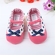 Girl's Spring / Fall Comfort / Round Toe Leatherette Outdoor / Dress / Casual Flat Heel Bowknot / Polka Dot / Gore Red