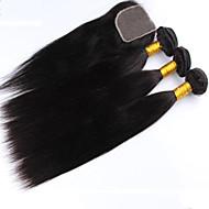 """4st mycket, 8 """"-24"""" brasilianska jungfru hår rakt hår, 3Bundles hårträns med spets stängning naturligt svart baby hår."""