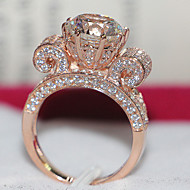 Prstýnky Dámské Sterlingové stříbro/Pokovené růžové zlato imitace drahokamu Sterlingové stříbro/Pokovené růžové zlato