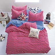Mingjie® Cupid Red and Blue Queen and Twin Size Sanding Bedding Sets 4pcs for Boys and Girls Bed Linen China