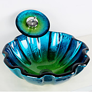Blue Round Tempered Glass Vessel Sink with Waterfall Faucet ,Pop - Up Drain and Mounting Ring