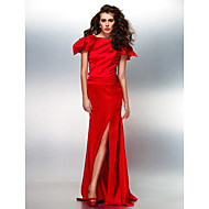 Formal Evening Dress - Ruby Plus Sizes / Petite Trumpet/Mermaid Bateau Floor-length Stretch Satin