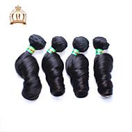 4pcs / lot 12-26 pouces remy brésilienne de cheveux vierges non transformés œuf noir naturelle friser les cheveux humains tisse