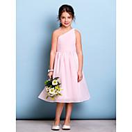Lanting Bride® Tot de knie Chiffon Junior bruidsmeisjesjurk A-lijn Eén-schouder met Drapering / Zijdrapering / Ruches